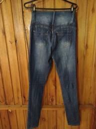 584 - Calça jeans fem. cintura alta - Tam 38