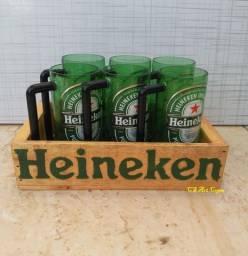 Kit 6 canecas Heineken com caixa madeira