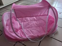Berço ninho rosa com mosquiteiro