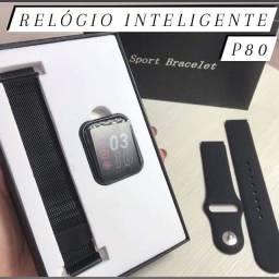 Relógio Smartwatch P80 + Pulseira extra de aço