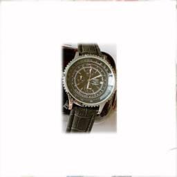 Breitling Chronometr Navitimer 1984 Mostrador preto Caixa Prateada Pulseira Preta