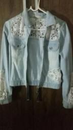 Jaqueta jeans com renda