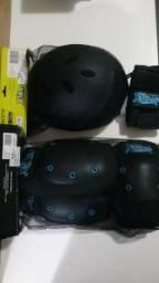 Capacete e kit Proteção skate X-Seven