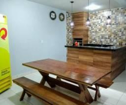 Jogo de mesas com bancos para churrasqueiras