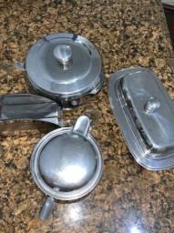 Conjunto cozinha inox- porta guardanapos/mantegueira/açucareiro/farinheira