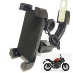 Suporte celular moto carregador garra retrovisor haste flexivel