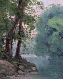 Tela Quadro Pintura óleo Original Floresta decoração