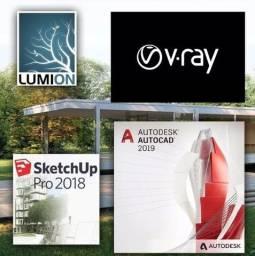 Instalação ou CD - Autocad - SketchUp - Photoshop - Revit - Premiere - Ac Picpay