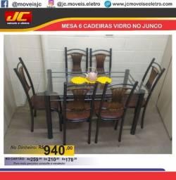 Mesa Junco 6 cadeiras com tampo de vidro