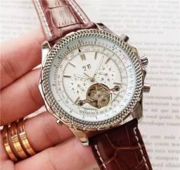 Breitling Chronometre Navitimer Mostrador Branco Caixa Prateada Pulseira Marrom