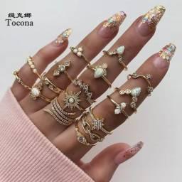 Tocona boho 16 pçs/sets anel de pedra cristal transparente de luxo para mulheres