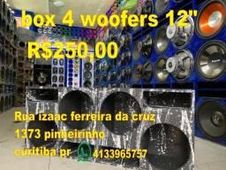 """caixa box 4 woofers 12 12"""" pancadão caixote caicha saveiro pick ups"""