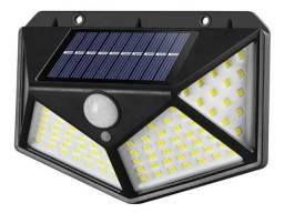 Arandela Solar 100 Leds Sensor Presença 3 Funções fica acesa a noite inteira