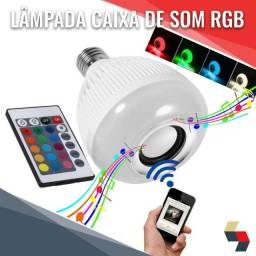 Lâmpada caixinha de som bluetooth LED rgb