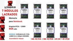 Lote de sete memórias notebook kingston 8gb - pcl3 12800 cl11 - 204pin sodimm