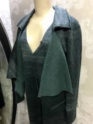 Macacão over, com casaco, elegante, tamanho 42, verde