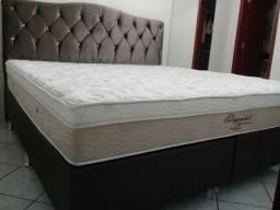 :: Cama Box Colchao Ortobom Elegante Queen Size (158x198) + 02 Travesseiros de Brinde;;
