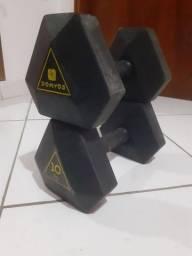 Kit Halter Sextavado Emborrachado 10 kg Domyos
