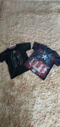 Camisas (Homem Aranha e Capitão América) - kids