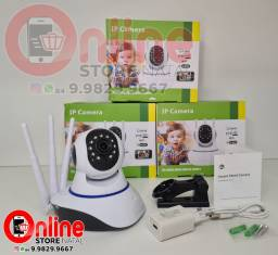 Câmera Ip 3 Antenas Wifi Yoosee 3ª Geração Visão Noturna em HD áudio e microfone