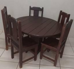 Mesa de Madeira Maciça com 5 cadeiras Passo Cartão(Entrego se Preferir)