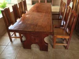 Mesa de madeira imbuia de 3 metros