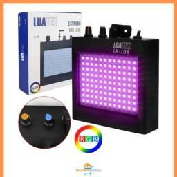Strobo 108 Led Refletor 18w RGB Luatek Lk-108 para Festas Jogo de Luz DJ