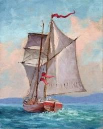 Tela Quadro Pintura óleo Original marina barco decoração de pequenos ambientes