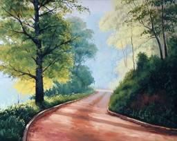 Tela Quadro Pintura óleo Original Paisagem Manhã de sol