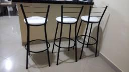 3 Banquetas Preta Alta Cozinha Bancada - Assento Branco Novas