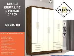 Guarda-Roupas Line 6 Portas C/ Pés Entrega e Montagem Gratuita Guarda-Roupas