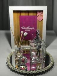 Kit Difusor + Sabonete líquido c/ bandeja espelhada