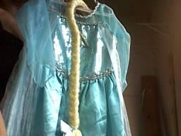 Vestido da Elsa com trança - 4 a 6 anos