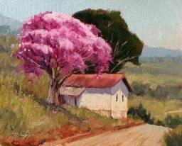 Tela Quadro Pintura óleo Original Paisagem decoração de pequenos ambientes