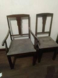 Cadeira de madeira antiga 2 peças