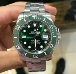 7a8dd5728496a Relógio Masculino Verde   Prata Automático Safira Resistente