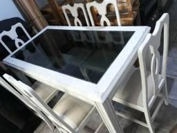 Mesa de madeira 6 cadeiras mogno