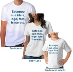 Camiseta Branca com Estampa Personalizada Customizada Adulto ou Infantil