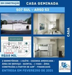 Casa Geminada - 2 Dormitórios, sendo uma Suíte, Quintal, 62m² - 507 SUL