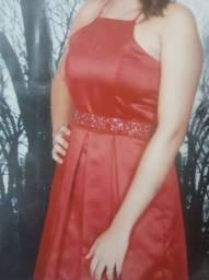 Vestido Joana Julião Cetim Vermelho c/ cinto em pedrarias