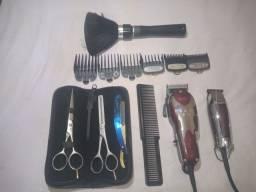 Máquinas e tesoura para cortar cabelo