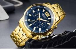Relógio Megir dourado megir