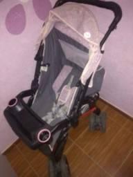 Carrinho de bebê + bebê conforto Preto com Rosa