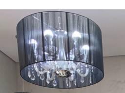 Lustre tela preta 6 lâmpadas