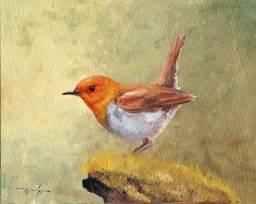 Tela Quadro Pintura óleo Original Pássaro decoração de pequenos ambientes