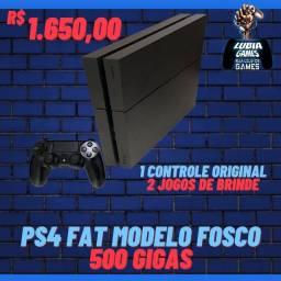 Ps4 fat 500 gigas modelo fosco + 2 games de brinde  + 1 controle original