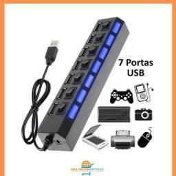 Hub USB 2.0 7 portas com LED indicador Vinik