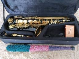Sax alto custom ex (preto e dourado)
