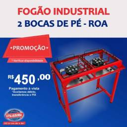 Título do anúncio: Fogão industrial Alta Pressão 2 Bocas Com Pé / marca ROA