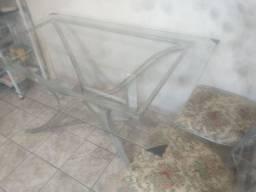 Vendo mesa de aço e tampo de vidro